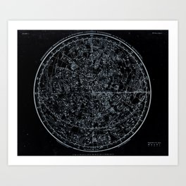 Northern Hemisphere Constellations White Blue Art Print