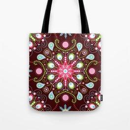 Pointillism mandala | Brown, red and green Tote Bag