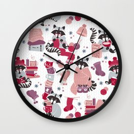 Hygge raccoon // white background Wall Clock
