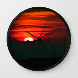 Red Sunset Countryside Landscape Wall Clock