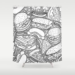 Junk and Health Food Frenzy Shower Curtain