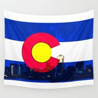 denver Wall Tapestries featuring Denver Colorado skyline vibrant by Artistic Attitude