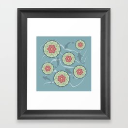 Koi Lotus Pond Framed Art Print