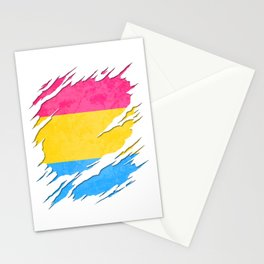 Pansexual Pride Flag Ripped Reveal Stationery Cards