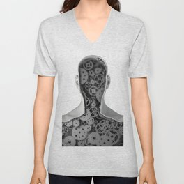 Clockwork human Unisex V-Neck