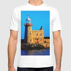 Howth Lighthouse Morning MEDIUM White Mens Fitted Tee