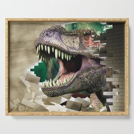 Destroying dinosaur Serving Tray