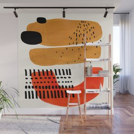 Mid Century Modern Abstract Minimalist Retro Vintage Style Fun Playful Ochre Yellow Ochre Orange Sha Wall Mural