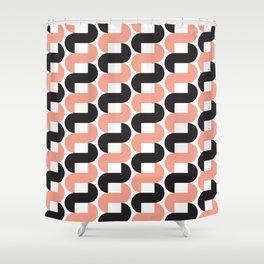 Geometric Pattern 184 (pink black knots) Shower Curtain