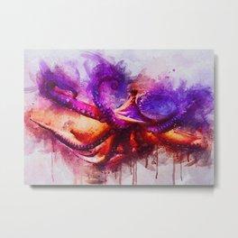 Octopus Watercolor Metal Print