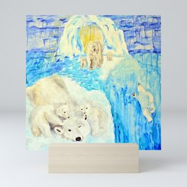 Polar Bears Trying to Survive Mini Art Print