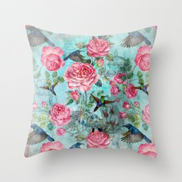 Vintage Watercolor hummingbird and English Roses Throw Pillow