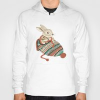 fabric Hoodies featuring cozy chipmunk by Laura Graves