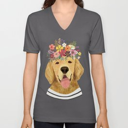Golden Retriever Dog with Floral Crown Art Print – Funny Decoration Gift – Cute Room Decor – Poster Unisex V-Neck