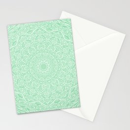 Most Detailed Mandala! Mint Green Color Intricate Detail Ethnic Mandalas Zentangle Maze Pattern Stationery Cards