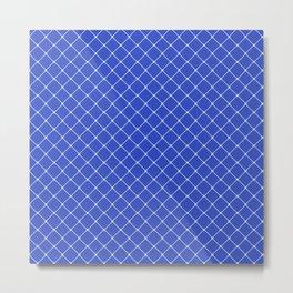 Royal Blue Light Classic Diagonal Grid Metal Print