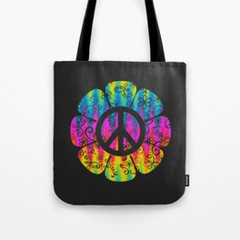 Colorful Peace Symbol Flower  Tote Bag