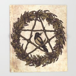 Botanical Pentacle: Wild Witch Throw Blanket