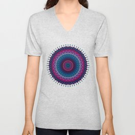 mandala - dropping points in blue, purple Unisex V-Neck