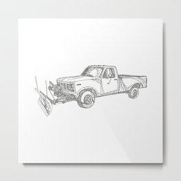 Snow Plow Truck Doodle Art Metal Print