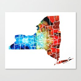 New York - Map By Sharon Cummings Canvas Print