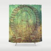 ferris wheel Shower Curtains featuring Ferris Wheel by Creative Vibe