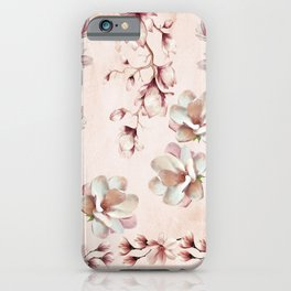 Watercolor Pink Magnolia Blossoms iPhone Case