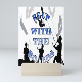 Be Up With The Boards Text And Kitesurfer Vector Mini Art Print