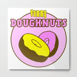 Vintage Yummy Doughnuts Retro Donuts Design Metal Print