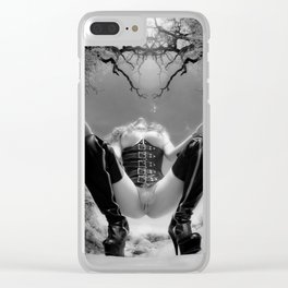 7034-TT Desert Domination BW IR Art Nude In Black Leather Corset Thigh High Boots Clear iPhone Case