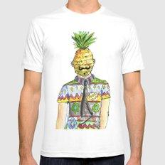 Mr. Pineapple MEDIUM Mens Fitted Tee White