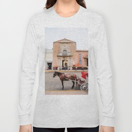 Horse Carriage in Downtown Merida, Mexico Long Sleeve T-shirt