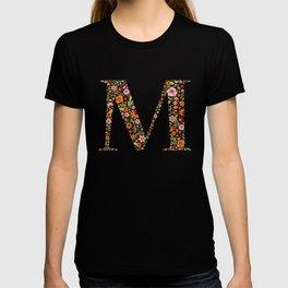 Retro Floral Letter M T-shirt
