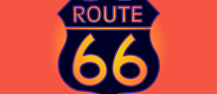 Travel USA sign of Route 66 label. American road icon. Coffee Mug