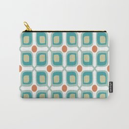 Abstract Flower Pattern Mid Century Modern Retro Turquoise Orange Carry-All Pouch