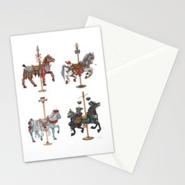 Four Carousel Horses of the Apocalypse - Square Stationery Cards