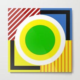 Modern Vibrant Geometric Pattern #1 Circles and Stripes Metal Print
