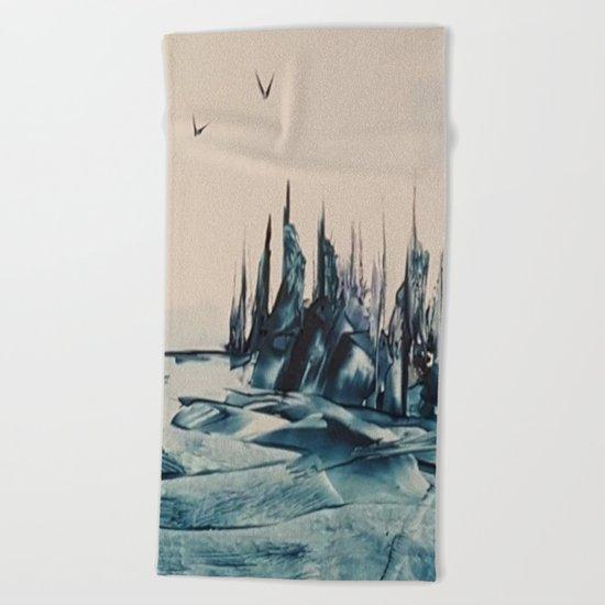Green Alienscape Beach Towel