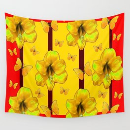 """""""FOR THE LOVE OF BUTTERFLIES"""" RED-YELLOW ART Wall Tapestry"""