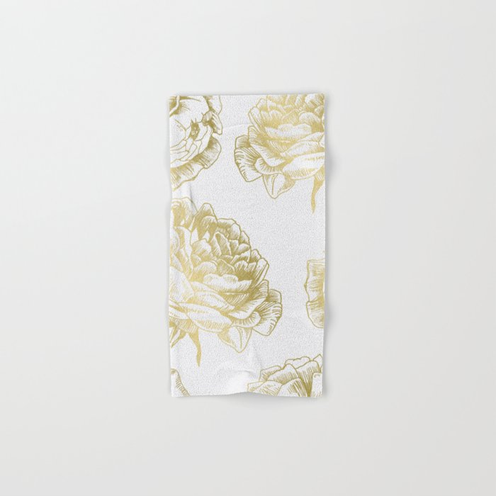 Gold Roses Hand & Bath Towel