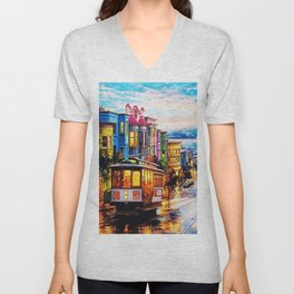 Russian Hill, San Francisco with view of Bay Unisex V-Neck