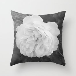 One White Rose Flower Blooming Throw Pillow
