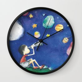 Stars and little planets Wall Clock