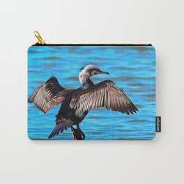Cormorant Wings on Blue Water Carry-All Pouch