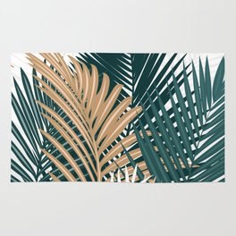 Gold and Green Palm Leaves Rug