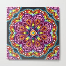 rastafarian mandala in rainbow colors Metal Print