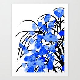 Falling Leaves Blue Art Print