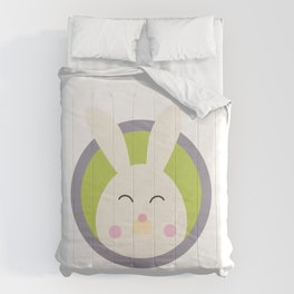 Cute rabbit head with blue circle Comforters