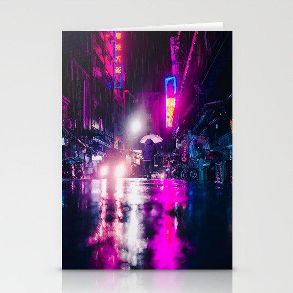 Purple Cyberpunk Stationery Cards