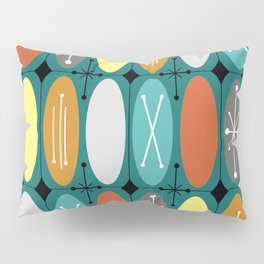 Atomic Era Ovals In Rows Teal Colorful Pillow Sham